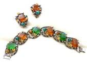 Vintage Bracelet Earrings with Apple Juice Bakelite Cabochons Art Glass Stones Antiqued Silver