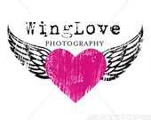 Premade Logo Design, Wings logo, heart logo, photography logo, retro logo