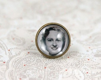 Photo Tie Tack or Lapel Pin, Tie Pin for the Groom, memorial, keepsake, personalized, boutonniere pin