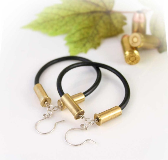 bullet earrings 22 caliber pistol earrings leather cord