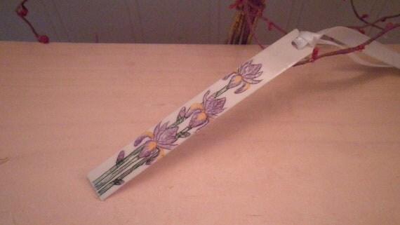 Ivory Scrimshaw Bookmark Purple Iris Flowers OOAK Great Gift Idea