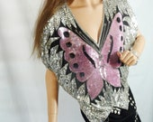 Vintage 70s 80s Pink and Silver Butterfly Top New Years Eve Party