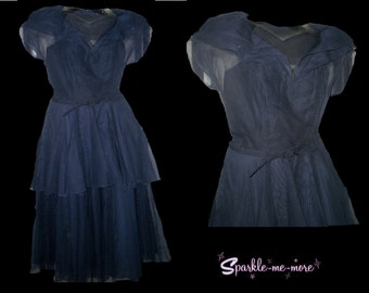 1940s 40s Long navy blue dress with belt Great Depression World War II layered skirt 26 Waist