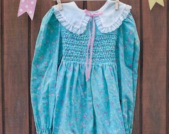 Tea with Mommy Vintage 1980s Polly Flinders Floral Print Spring Summer Girls Dress