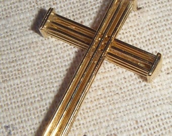 "Delicate Deco ""Architectural"" Cross Charm in Brass (1) Simple, Minimalist"