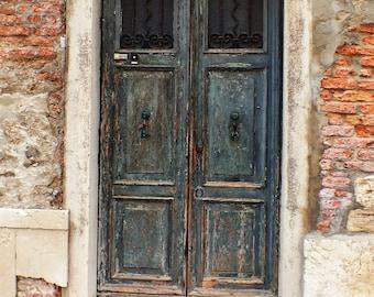 Fine Art photography weathered door, Venice, Italy, Venezia, green, vintage, brick 8x12