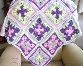 Instant download - Crochet Pattern - Trailing Leaves Afghan  in Squares