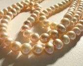 "6-7mm natural light orange/ salmon pink, potato - PEARL - 16"" full strand, 70 beads, gemstone bead, loose pearl, loose bead, bead supply,"