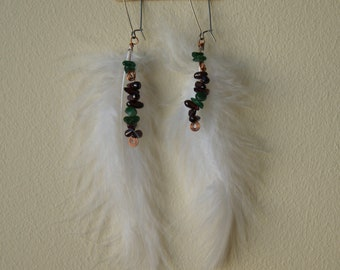 Garnet and Aventurine White Feather Earrings, Handmade, Wire Wrapped