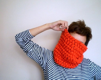 Womens Orange Cowl, Crochet Neckwarmer