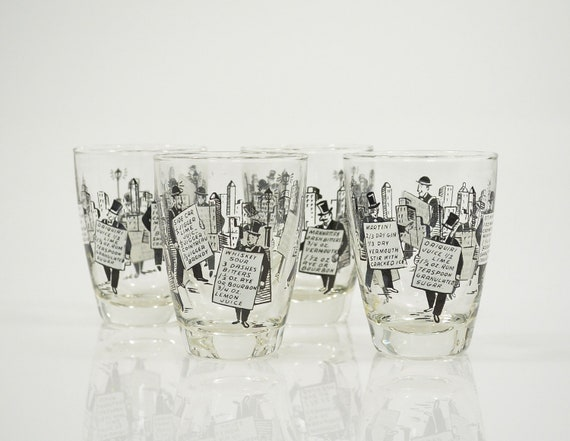 Vi n t a g e News Boys with Drink Recipes Low Ball Rocks Glasses Bar Ware Set of 4