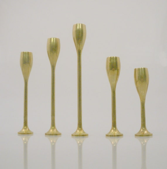 Vi n t a g e Modern Solid Brass Candle Sticks Holders Set of Five Taiwan