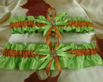 Apple Green and Burnt Orange Wedding Garter Set