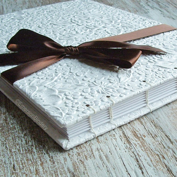 Wedding Guest Book, White Blossom, LARGE 10x8, MADE upon ORDER