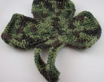 Green Camo Shamrock Crocheted Dishcloth Handmade