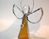 Angel suncatcher ornament Stained glass amber Christmas holiday decor