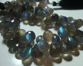 AAA Flashing Fiery Blue Green Labradorite Faceted Teardrop Briolette, 1/2 Strand, 10-12x7-7.5mm
