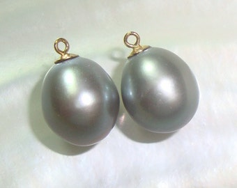 Fresh Water Pearl Drop Pearl Dangles, Gray Pearl Pendant, 18K Gold Sterling Silver Cup and Peg, 13-14x9-9.5mm, 2 pcs