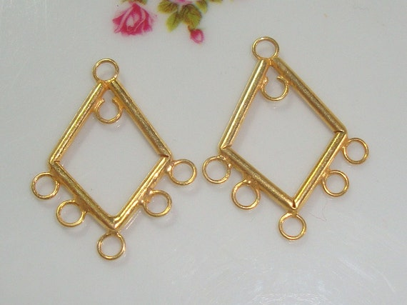 Gold Vermeil Lovely Diamond Chandelier 2 Pcs 25x20mm