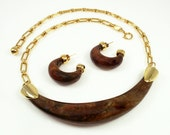 Vintage Celebrity Mod Brown Lucite Necklace Earrings