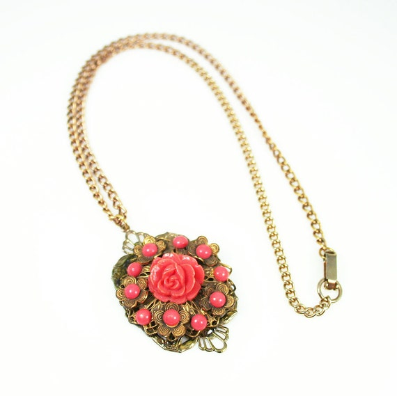 Vintage Pendant Necklace Coral Lucite Flower Goldtone Filigree Antique Jewelry