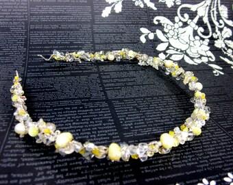 Beaded Yellow Hair Jewelry -- Fancy Headband -- Women's Yellow Headband -- Beaded Headband for Women -- Woman's Beaded Headband -- Fancy