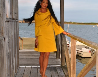Organic Cowl Neck Dress (sample sale and ready to ship), yellow green only.