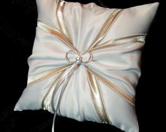 White or Ivory Wedding Ring Bearer Pillow Champagne Accent