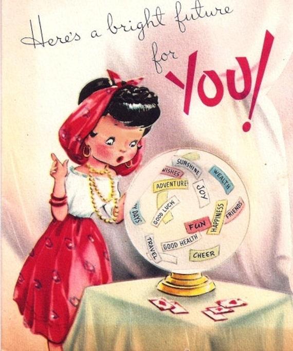 Vintage Birthday Card Gypsy Fortune Teller Crystal by ...