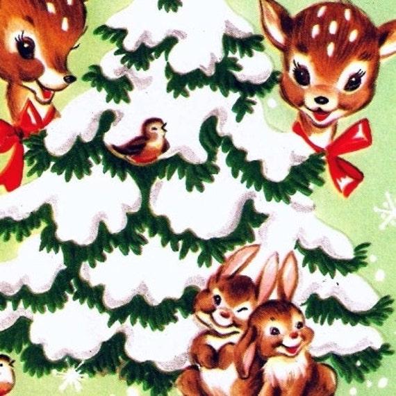 Vintage Christmas Card Baby Animals Wildlife Tree