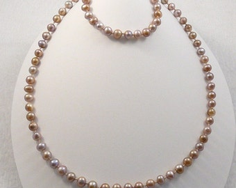 latte chocolate 4 pc freshwater pearl jewelry set necklace bracelet 2 pairs earrings gold filled knotted on silk