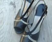 vintage 50s heels  black peep toe heels  6AA Red Cross Shoes