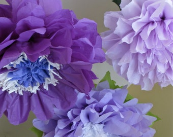 PURPLE WONDERLAND. 5 Giant Paper Flowers, wedding, baby shower decorations, cake smash backdrop, garden party, birthday party, tea party