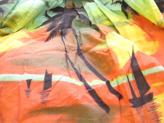 Vintage Skirt Sunset Beach Reclaimed Fabric Remnant