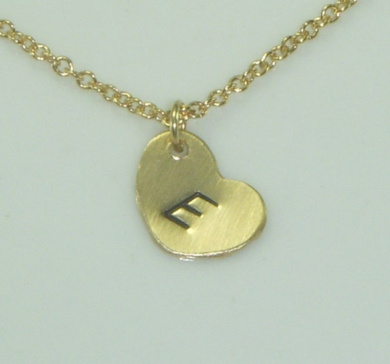Little Heart Charm Initial Necklace in Gold