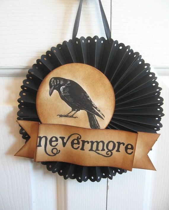 Halloween POE CROW door or wall medallion
