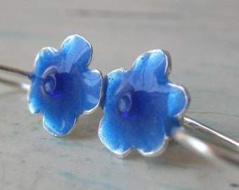 Girls Earrings Sterling Silver  Little Flower with Blue resin and Beads