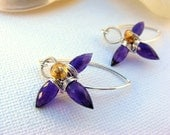 Amethyst and Citrine Lily Earrings, Sterling Silver, Wire Wrapped, Gemstone Earrings, February Birthstone, Purple Lily