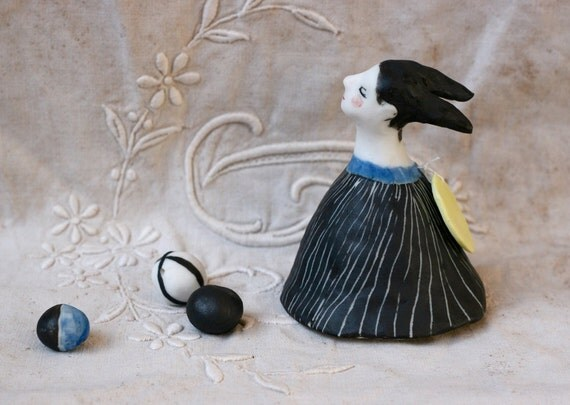 """SALE : Porcelain bell 98 """"Circus under the moon"""" handmade OOAK sculpture"""