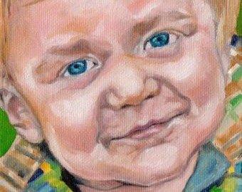 Custom Portrait Painting 5x7 Photo to Painting Oil Canvas Child Memories Keepsake Family