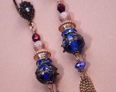 "4"" 1/2 Blue Indian glass, copper color stardust bead, wine color bead, dangle, drop earrings"