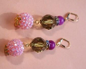 "3"" L  Raspberry Jade stone, olive, pink, dangle, drop earrings"