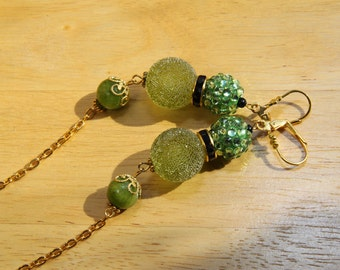 "5"" L Olive green resin sugar bead, apple green rhinestone, green jade stone, duster, dangle earring"