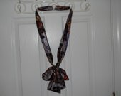 Soft Smooth long Brown Scarf with Flower