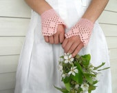 Gothic Gloves,Victorian Gloves, Lace Gloves, Blush Pink, Powder Pink, Crocheted Gloves Pearl Buttons Bridesmaid Gift Shabby Chic