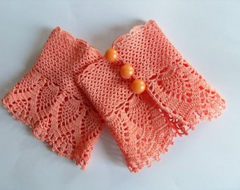 Crochet Gloves, Victorian Gloves, Deep Peach, Lace Glove,Gothic Gloves, Pearl Buttons Bridesmaid Gift Shabby Chic