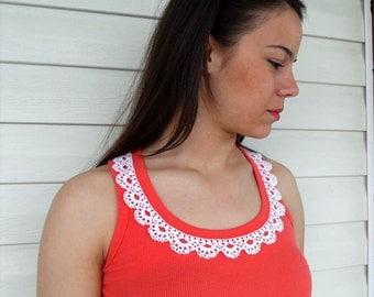 Crocheted Shirt, Lace Collar Crocheted Blouse, Tunic, Gift For Her, Lace Shirt, Coral Red And White Flowers, Spring Fashion