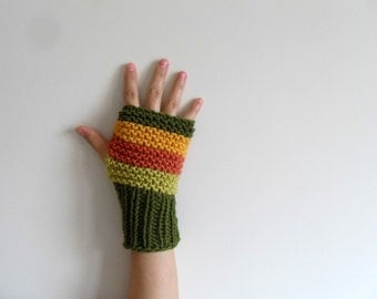 Harvest Gloves, Earth Tones Fingerless Gloves, Harvest Colors, Women Gloves, Winter Fashion, Mustard,Green,Orange, Pistachio