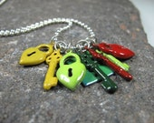 Enameled Locks and Keys on Silver Ball Chain - Yellow, Lime Green, Forest Green, Red