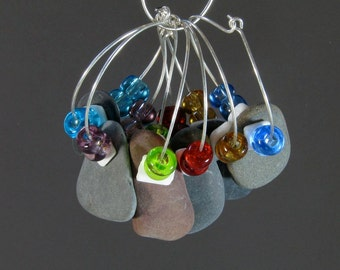 Wine Glass Tags (Set of 6) -- Finger Lakes, NY, beach stones with glass beads on gold or silver-plated brass hoops  Free Shipping